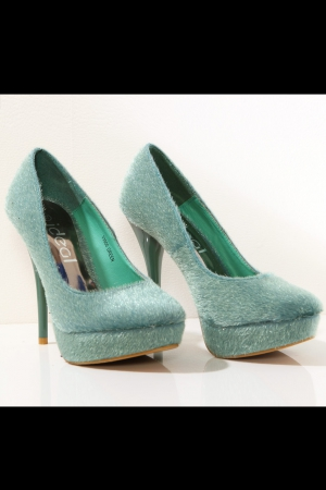 3117-3 High heels and platform with a teddy bear - green