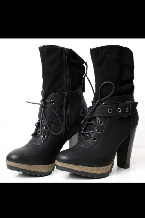 4021-2 Shoes / boots tied - black